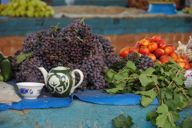 Grapes and Teapot - Khiva, Uzbekistan