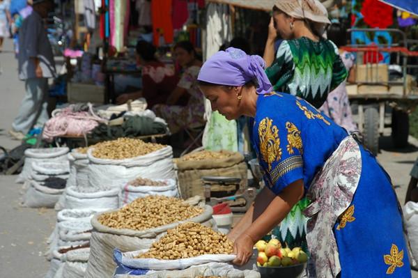 Woman Selling Nuts - Khiva, Uzbekistan