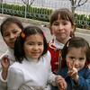 A group of playful Uzbek girls in Tashkent.