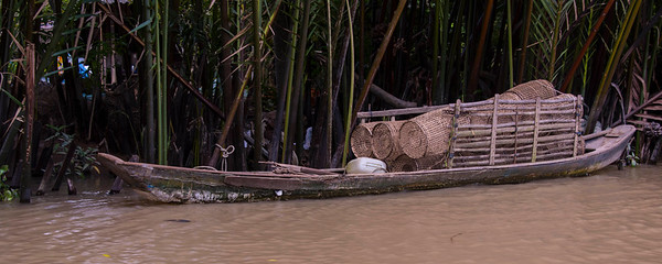 Fish Traps on Boat - Mekong Delta