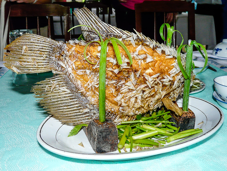 An elephant fish on a platter.