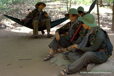Models of Viet Cong resting. For some reason there is a focus on women fighters, possibly to create a better sense of humanity within the Viet Cong.