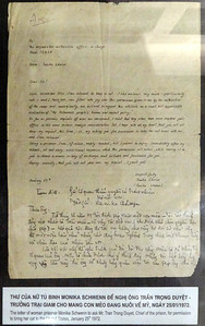 Hoa Lo Prison, aka Hanoi Hilton - Letter from female prisoner requesting permission to bring her cat home to the US.