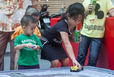 Kids enjoy all the different activities offered during Tet in the city.