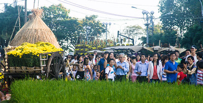 Crowds gather every year to enjoy and photograph the flower arrangements along Nguyen Hue