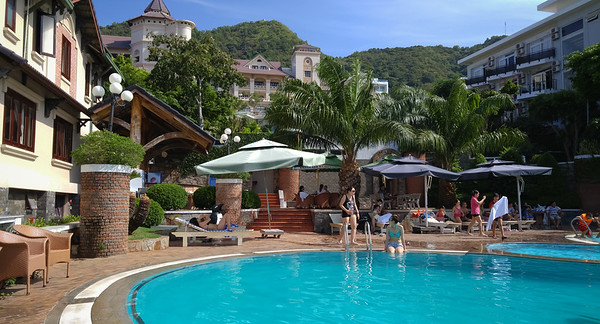 A view of Ky Hoa Hotel from their pool