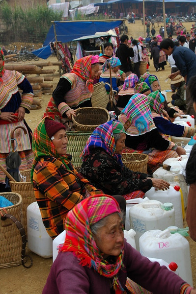 Women with Jugs at Market - Bac Ha, Vietnam