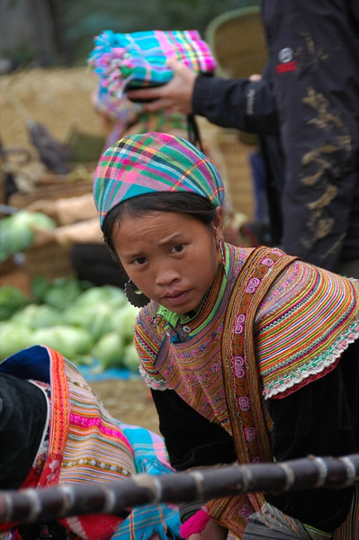 Girl Looking at a Sugar Cane - Bac Ha, Vietnam