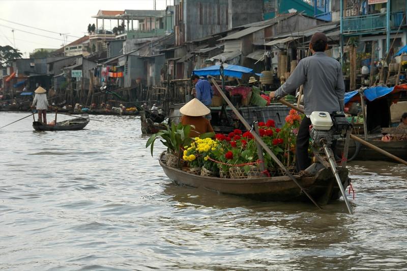 Flowers on a Boat - Mekong Delta, Vietnam