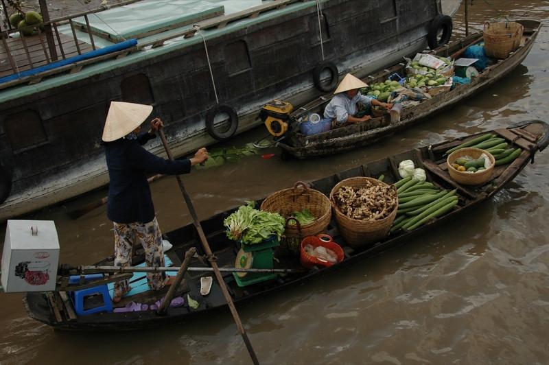 Veggies on a Boat at Floating Market - Mekong Delta, Vietnam