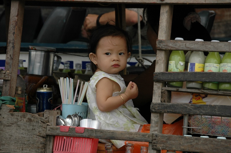 Baby Girl in the Drink Boat - Mekong Delta, Vietnam