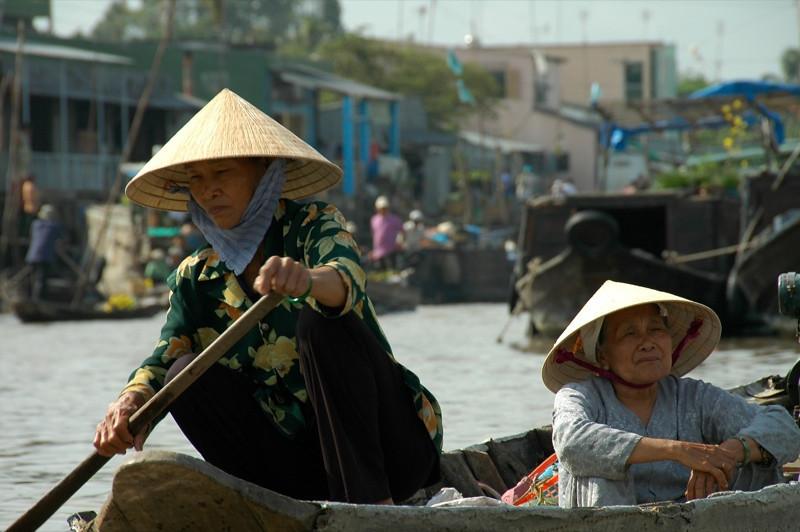 Rowing under the Sun - Mekong Delta, Vietnam