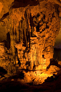 Isolated shot of rock formation inside a cave in Ha Long Bay, Vietnam