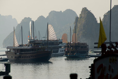 Tourist boats exploring the Ha Long Bay, Vietnam