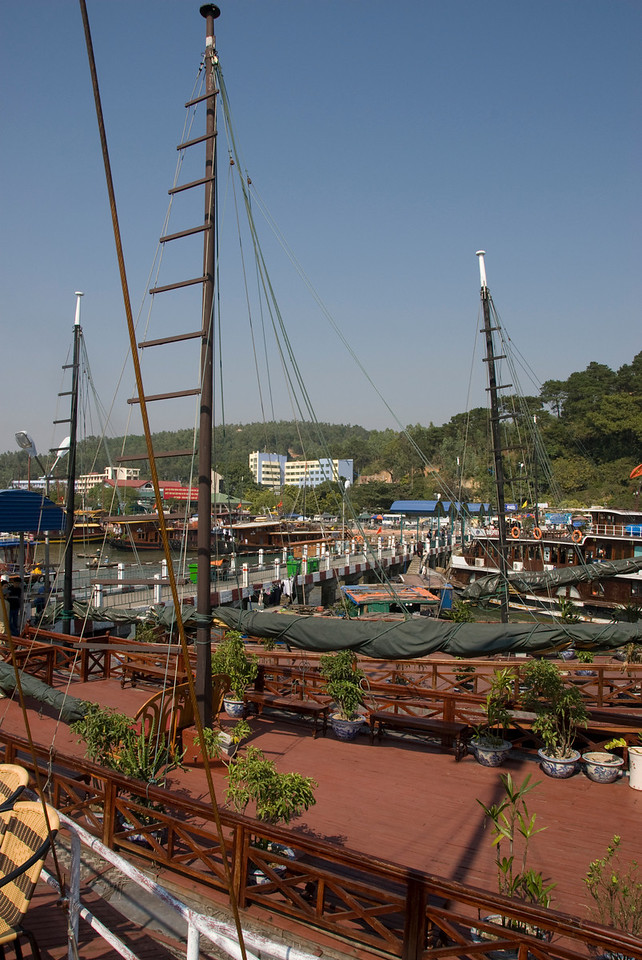 View of the dock at Ha Long Bay, Vietnam