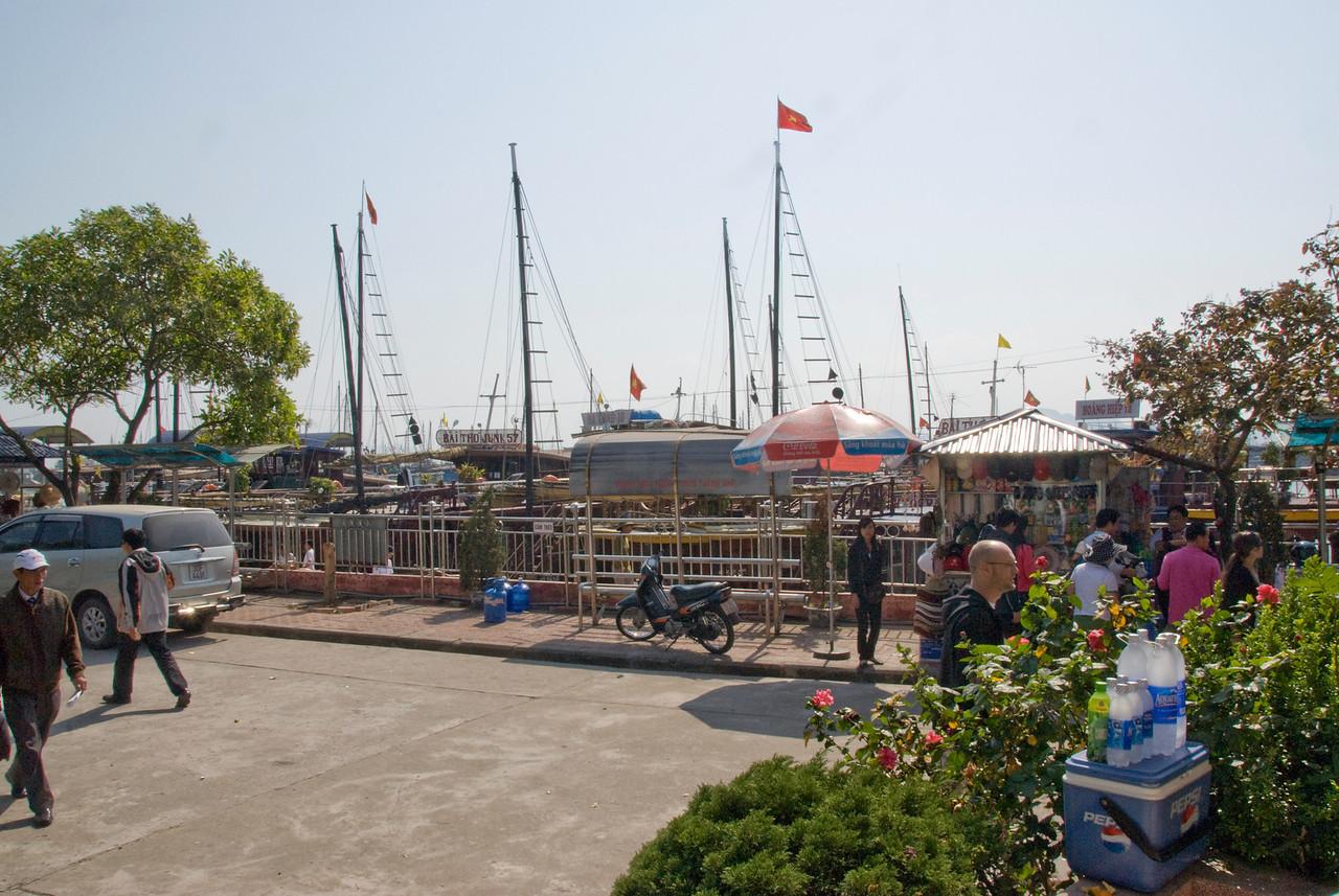 Vendor stalls near the dock - Ha Long Bay, Vietnam