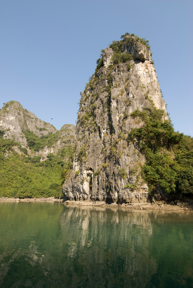 Steep cliff and rock formation in Ha Long Bay, Vietnam