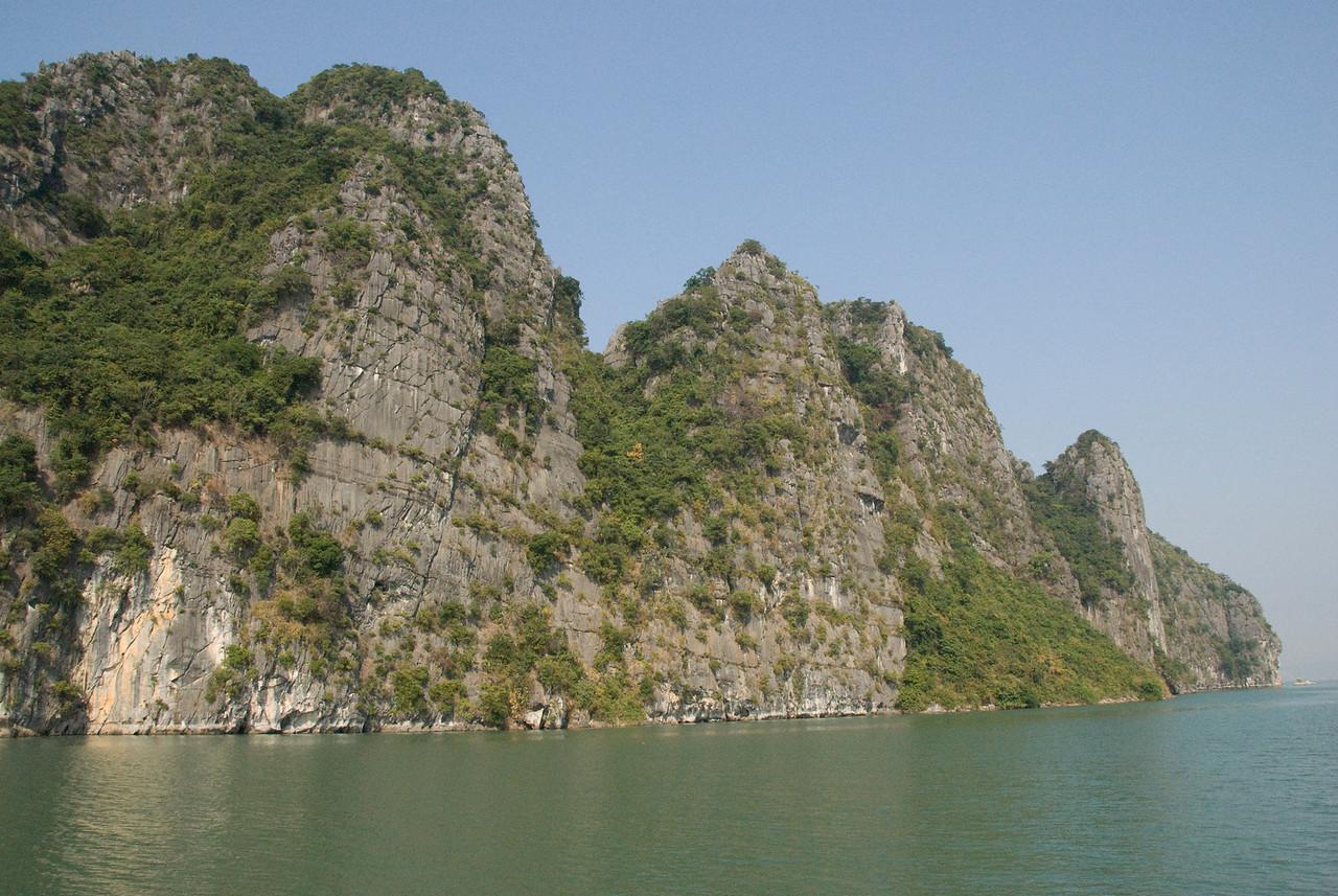 The rock islands and sea at Ha Long Bay, Vietnam