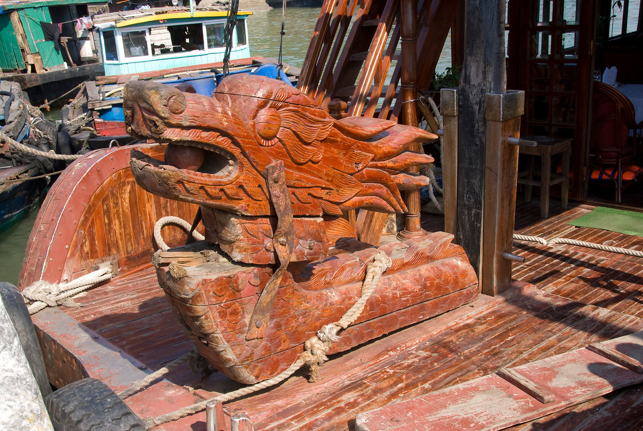 Wooden dragon statue inside a boat - Ha Long Bay, Vietnam