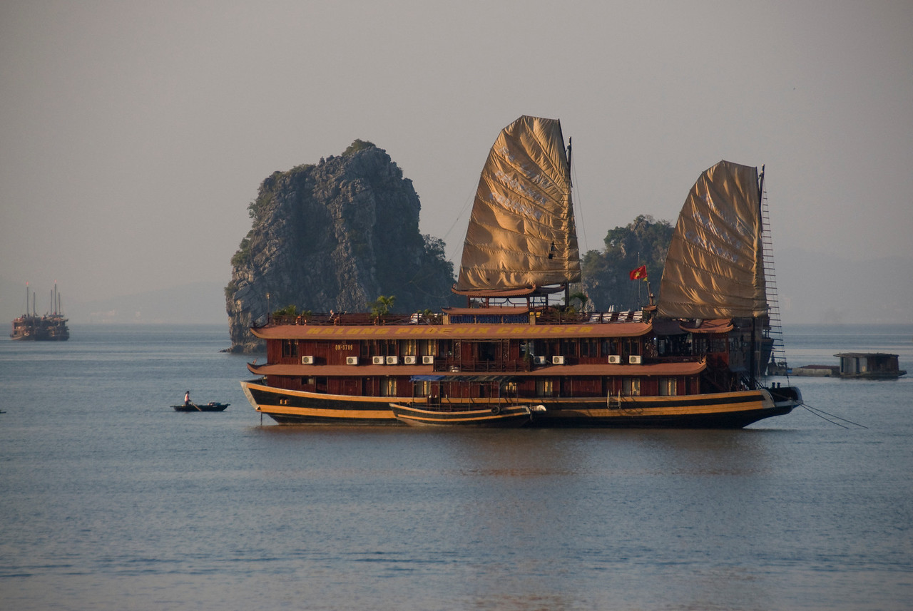 Junk at full sail in Ha Long Bay, Vietnam