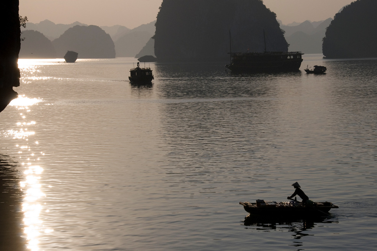 Silhouette of boats during sunset in Ha Long Bay, Vietnam