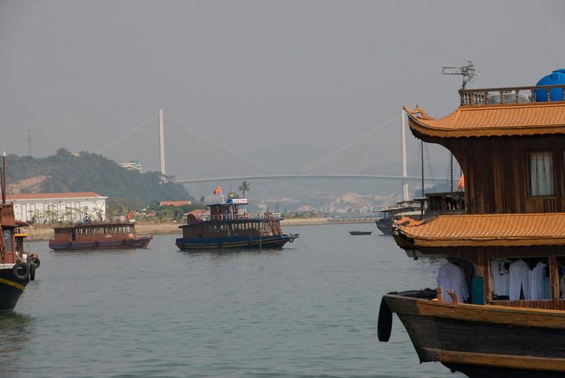 Suspension bridge near the harbor - Ha Long Bay, Vietnam