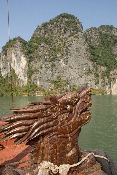 Close-up shot of wooden ornmanet in the boat - Ha Long Bay, Vietnam