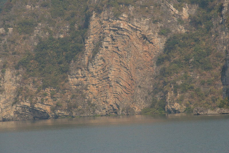 Folding and Sediment Layers on an island in Ha Long Bay, Vietnam