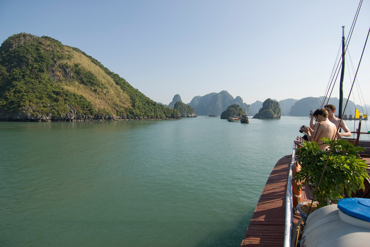 Closer view of the island from a boat - Ha Long Bay, Vietnam