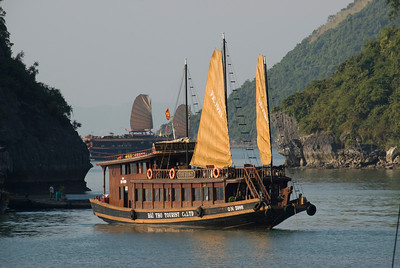 Close-up of tourist boat cruising Ha Long Bay, Vietnam
