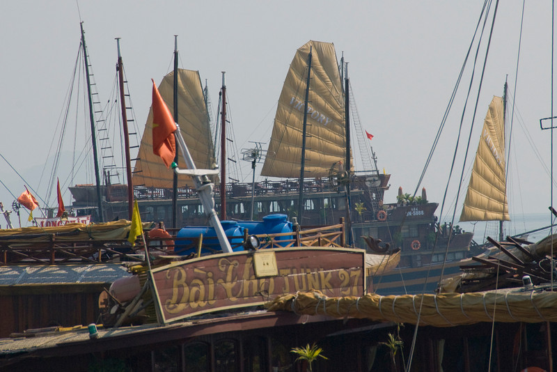 Sails on ships in harbor - Ha Long Bay, Vietnam