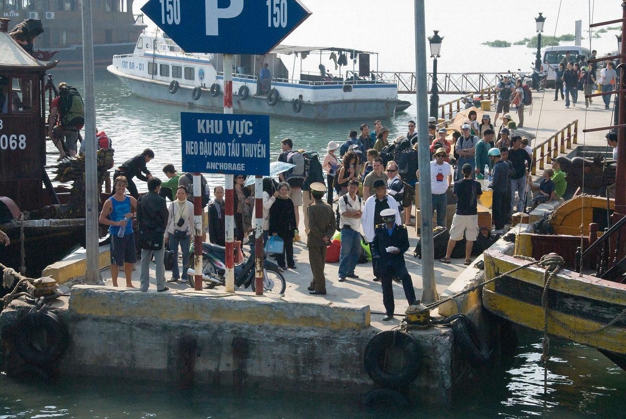 Tourists waiting on the dock - Ha Long Bay, Vietnam