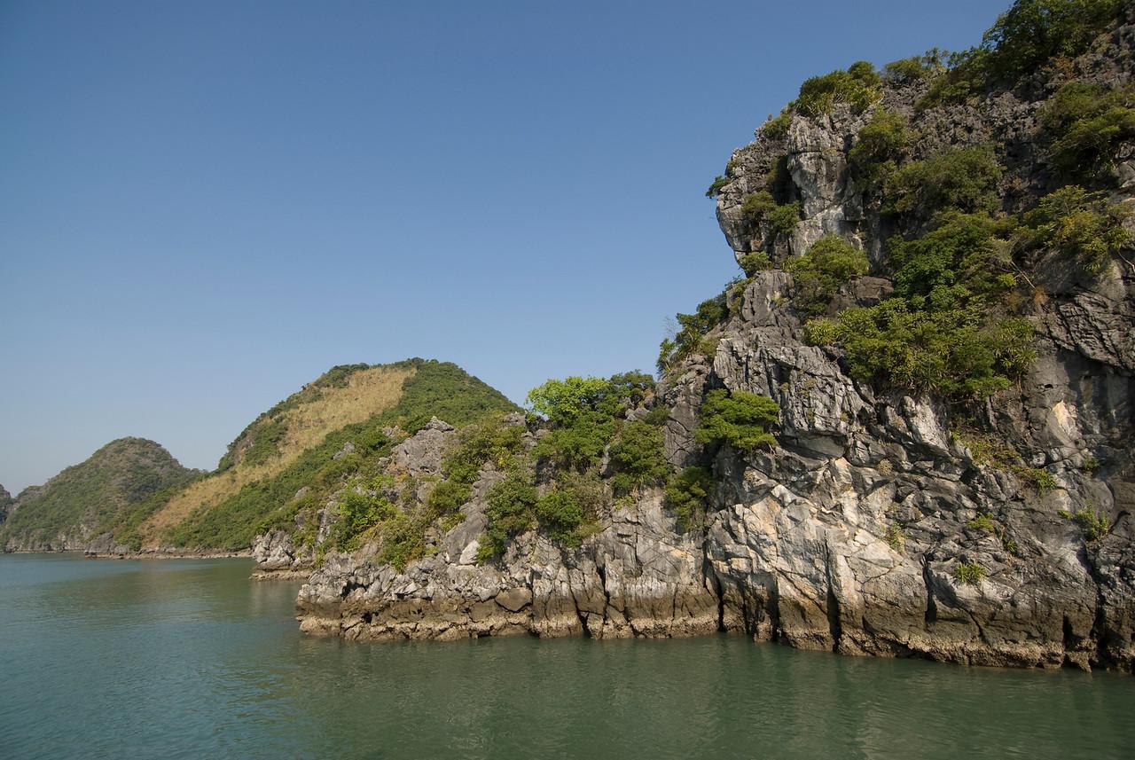 Steep rock cliffs in Ha Long Bay, Vietnam
