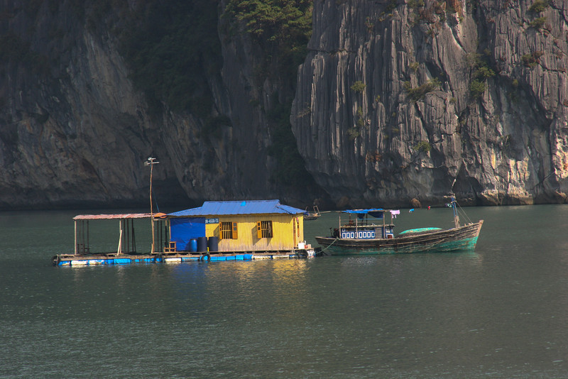 Halong Bay, Vietnam and the fishing village there.