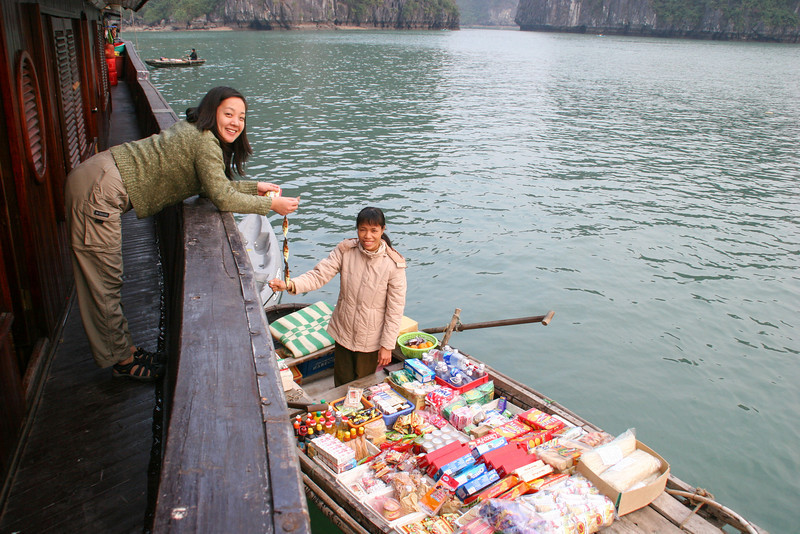 There are several floating stores that will come to supply you on Halong Bay, Vietnam and the fishing village there.