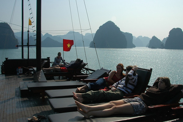 Relaxing on the Top Deck - Halong Bay, Vietnam