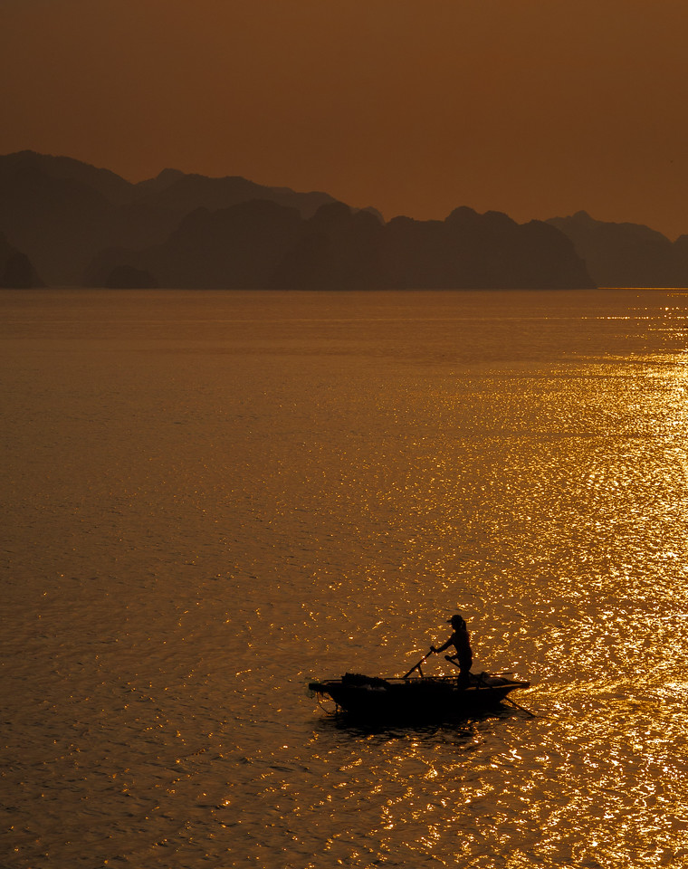 Mesmerizing Halong Bay at sunset.