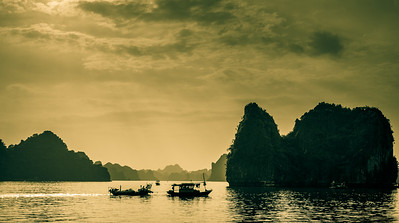 Mesmerizing Halong Bay at sunset.
