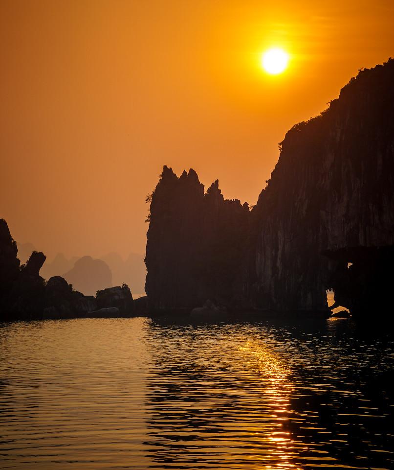 Mesmerizing Halong Bay at sunrise.