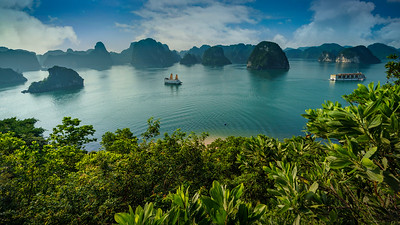 Colorful Halong Bay shot from Titov Island hill.
