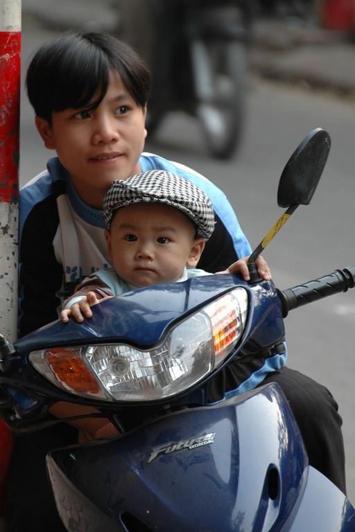 Vietnamese Baby on a Motorbike - Hanoi, Vietnam