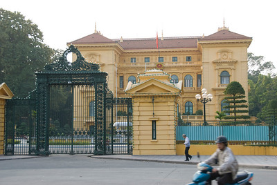 The facade of Presidential Palace in Hanoi, Vietnam