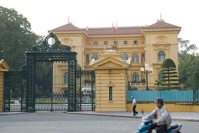 The facade of Presidential Palace in Hanoi, Vietnam