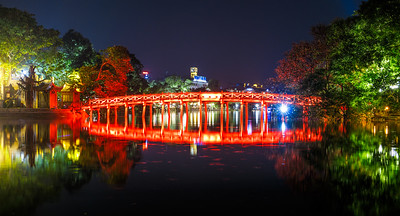 The Huc Bridge at Hoàn Kiếm Lake.