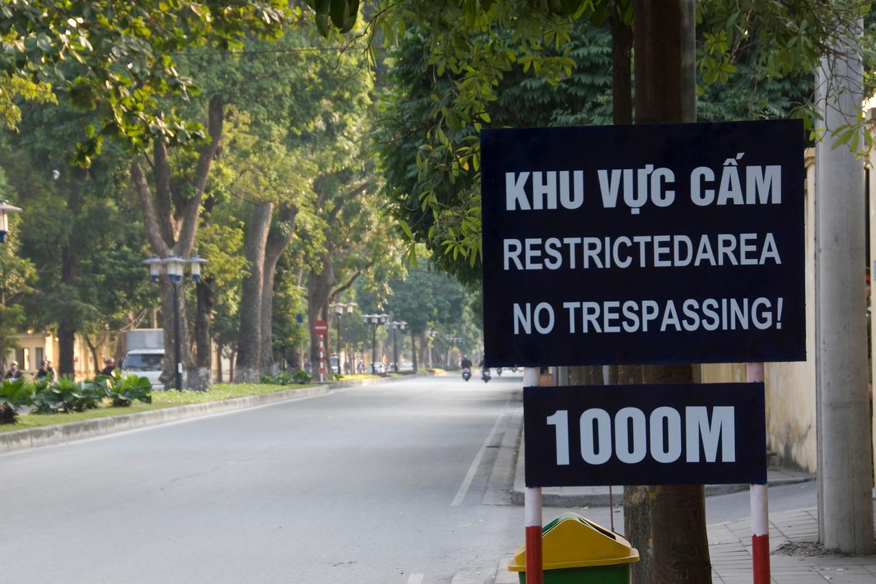 No Trespassing Sign spotted in Hanoi, Vietnam