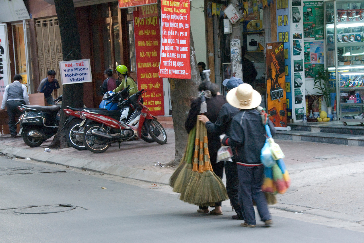 Broom Vendors in Hanoi, Vietnam