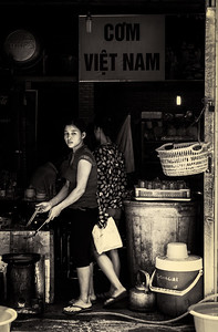 Street life scene in Old Hanoi.