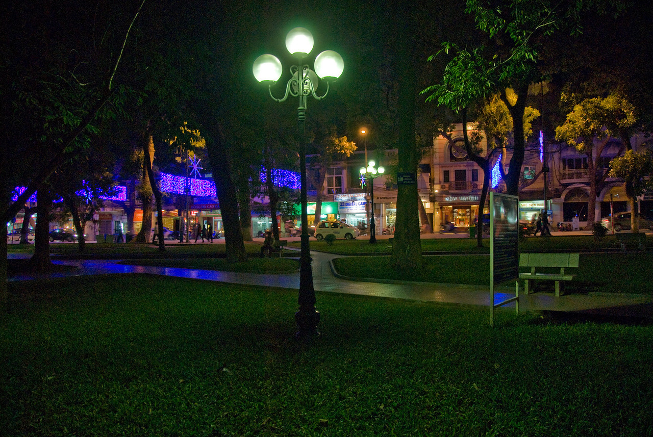 Colorful lights at city park during night - Hanoi, Vietnam