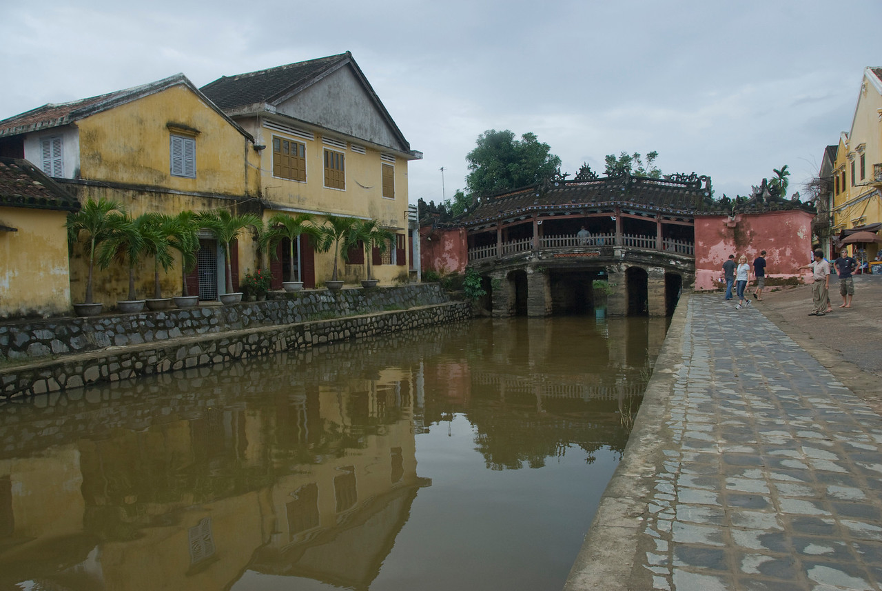 Houses near foot bridge in Hoi An, Vietnam