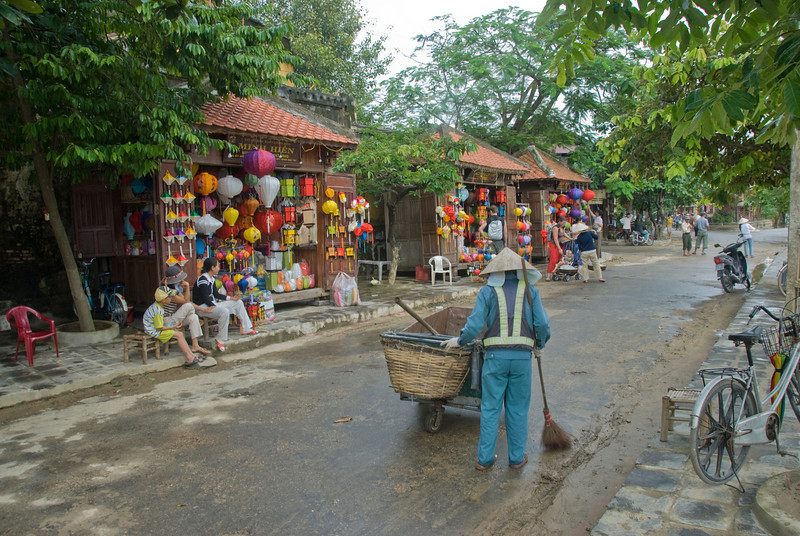 Row of lantern vendors in Hoi An, Vietnam
